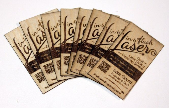 Laser engraved and cut wooden business cards