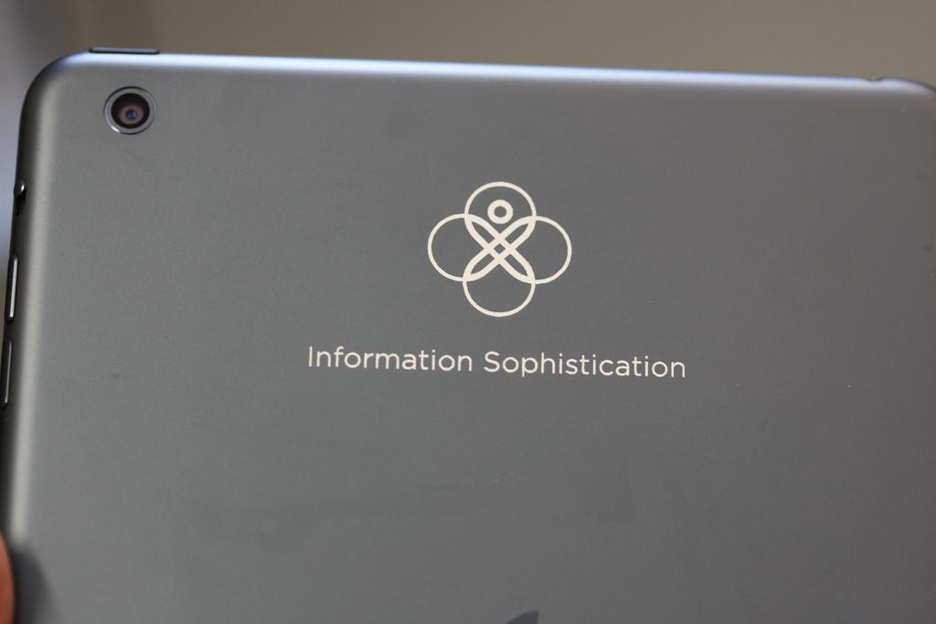 Logo laser engraved on Slate iPad mini