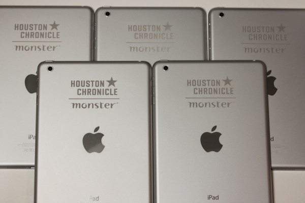 Engraved iPad minis for Houston Chronicle and Monster