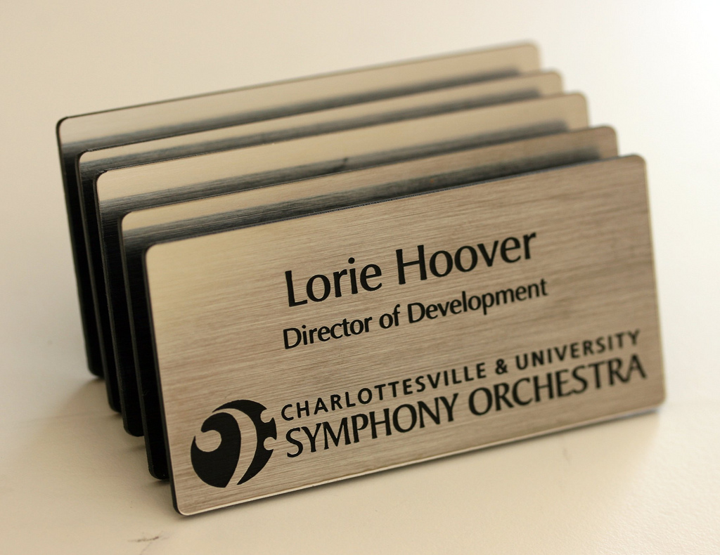 Engraved magnetic name tags