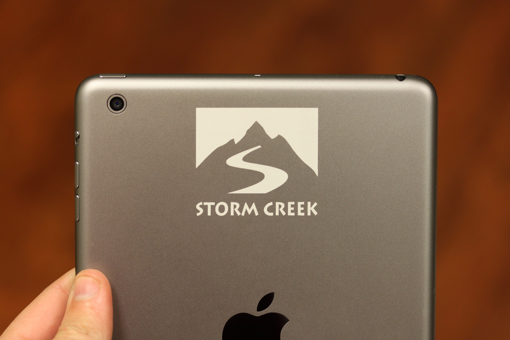 Logo Engraved on Space Gray iPad mini