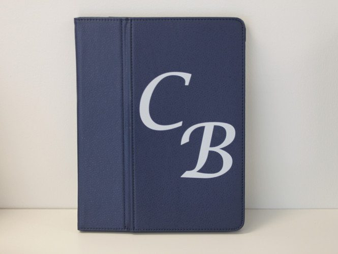 Blue iPad Case with White Letters