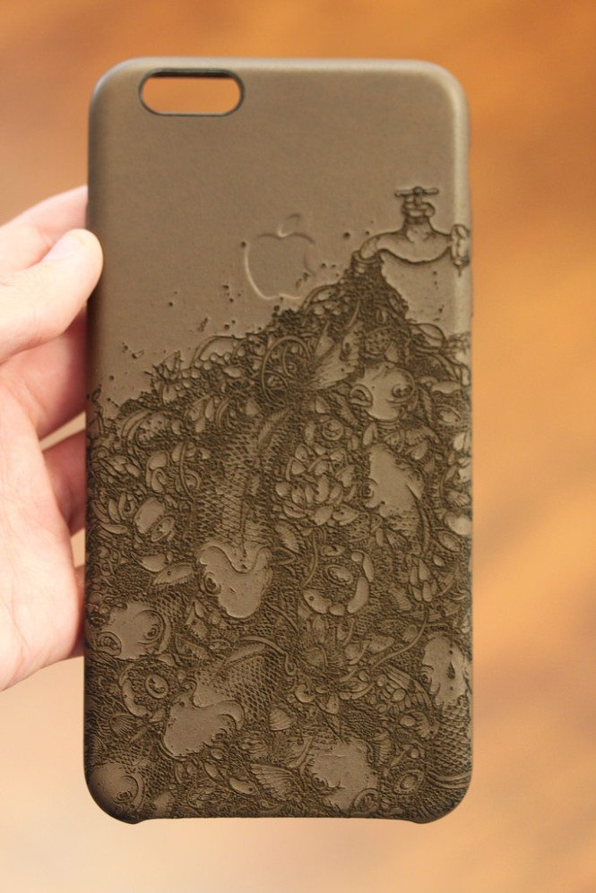 engraved leather iphone 6 plus case in a flash laser