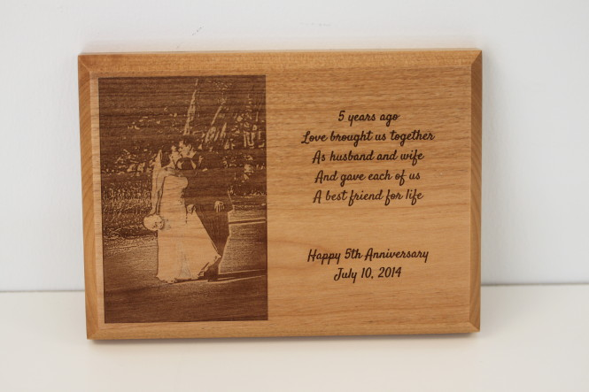 Wooden Photo Plaque - 5 Year Anniversary