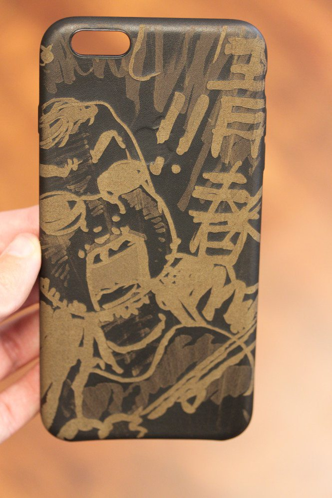 Engraved Black Leather iPhone Case - In A Flash Laser