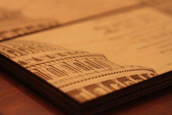 Laser engraved maple wedding invitations