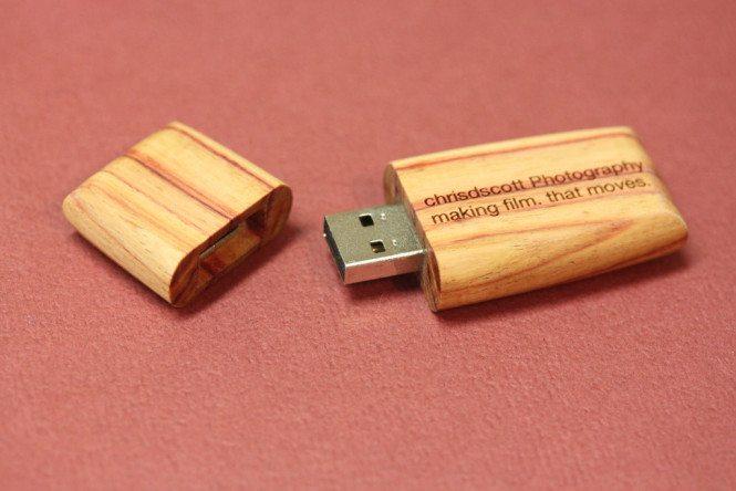 Laser engraved wooden flash drive