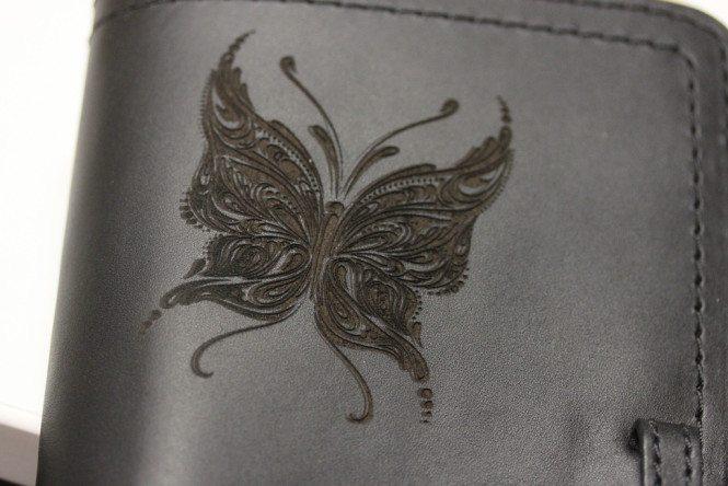 Laser etched leather wallet
