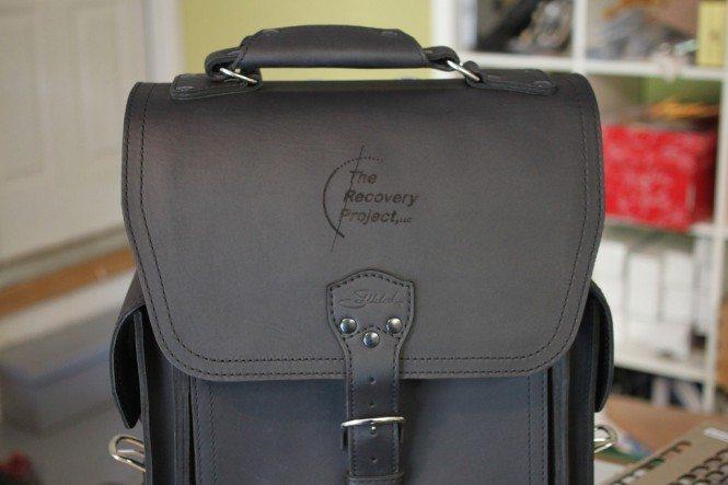 Logo engraved on Saddleback Leather Bag
