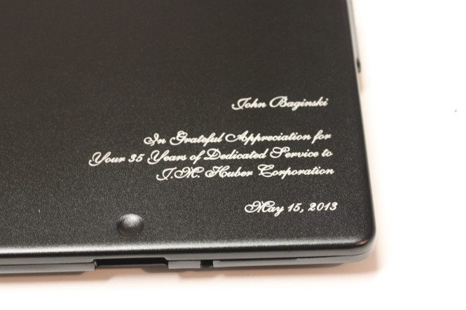 Inscription on metal iPad case
