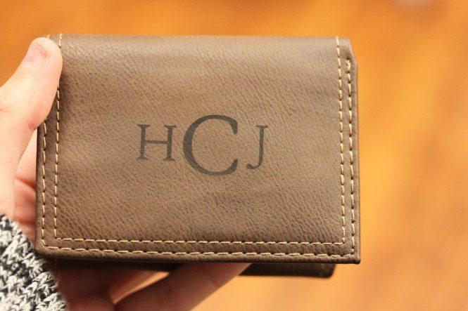 Laser Etched Leather Wallet 1