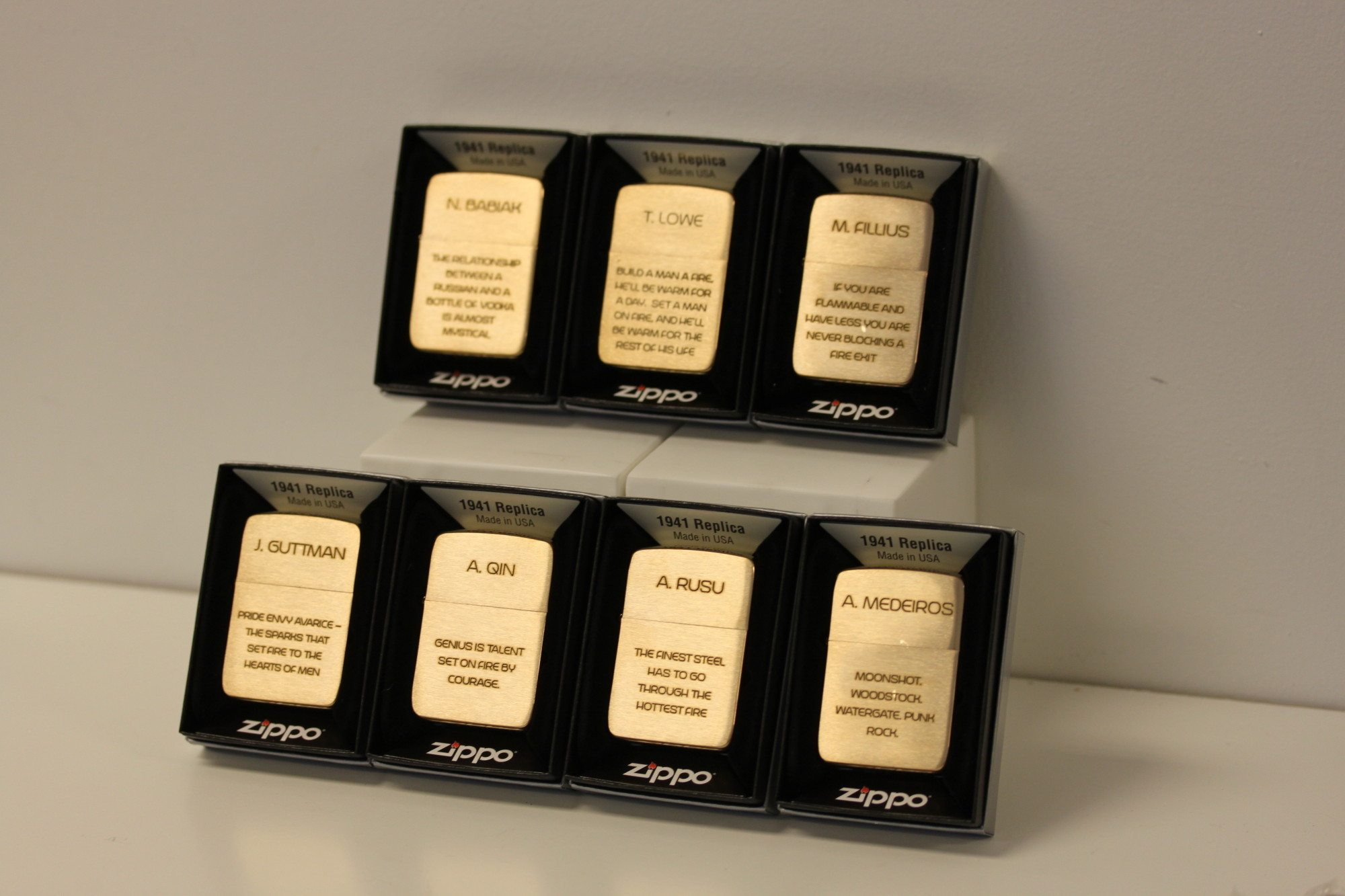Engraved Groomsman Gifts - Gold Brass Zippos - In A Flash
